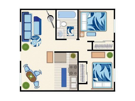 View floor plan image of 2 Bedroom 1 Bath - 980 apartment available now