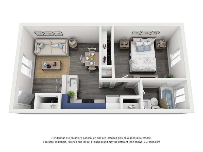 View floor plan image of 1 Bedroom 1 Bath Small apartment available now
