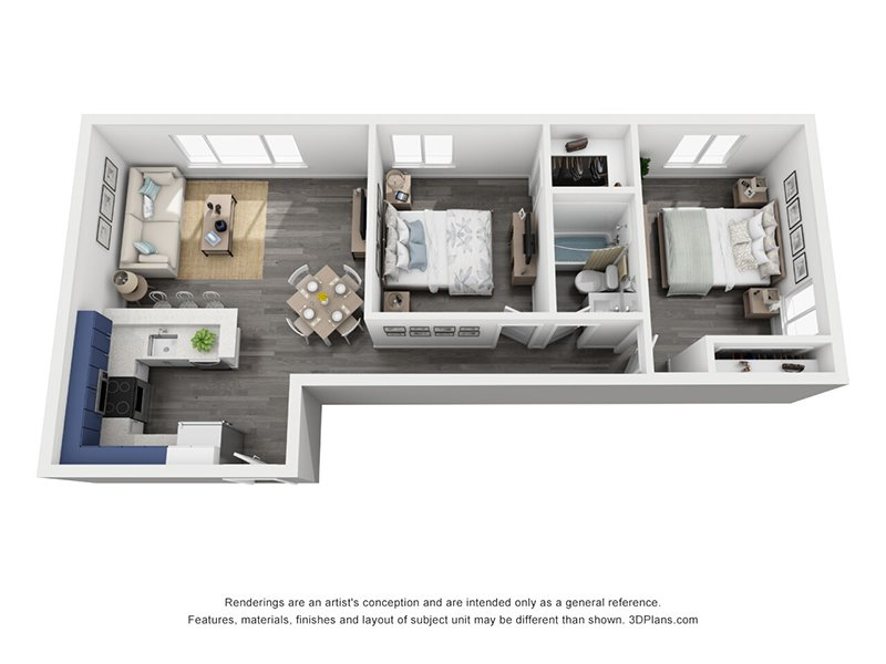 View floor plan image of 2 Bedroom 1 Bath Large apartment available now