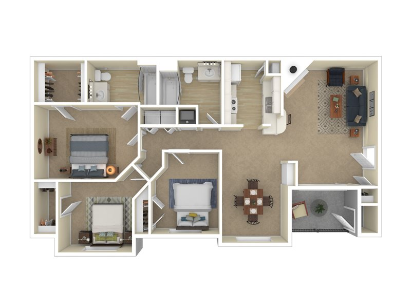 Pleasant Springs Apartments Floor Plan The Manhattan