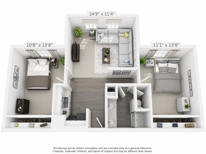 Eleven13 Apartments Floor Plan 2x1 Flat