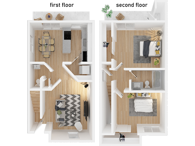 View floor plan image of 2 Bedroom 1.5 Bathroom apartment available now