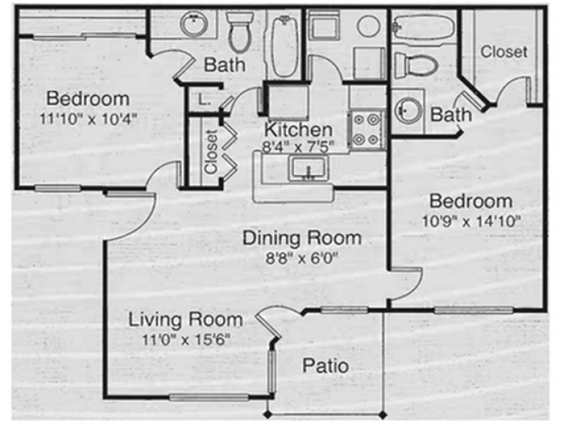 View floor plan image of 2x2 DR apartment available now