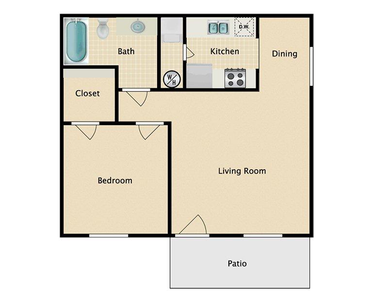 Somerset Commons Apartments Floor Plan 1 Bedroom 1 Bath