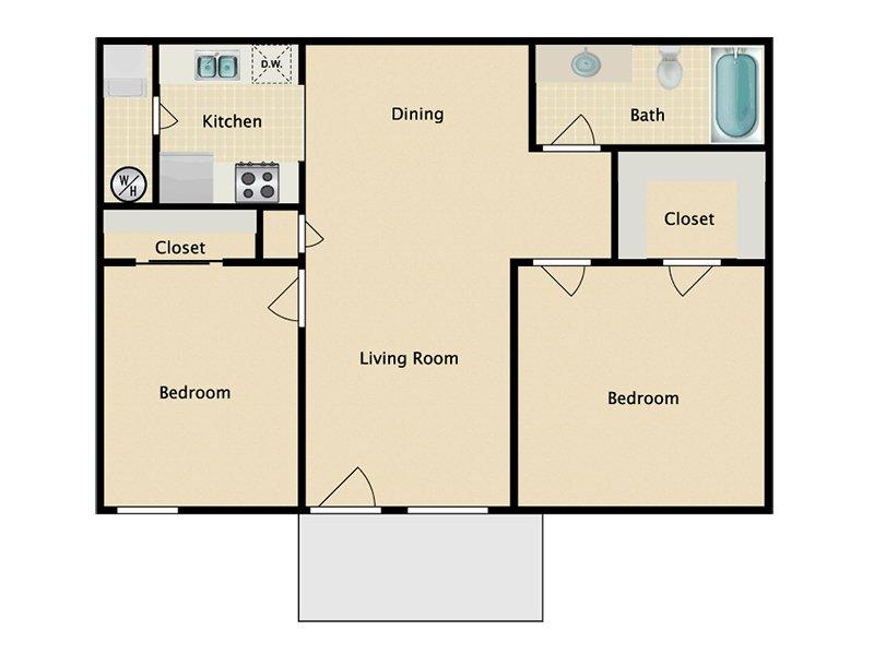 Somerset Commons Apartments Floor Plan 2 Bedroom 1 Bath