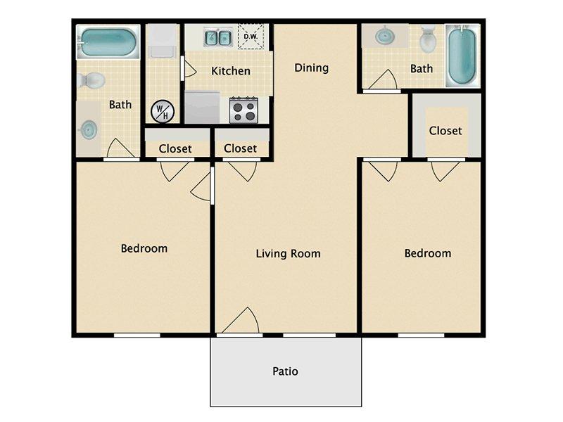 Somerset Commons Apartments Floor Plan 2 Bedroom 2 Bath