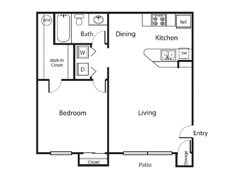 Desert Ridge Apartments Floor Plan 1 Bedroom 1 Bath