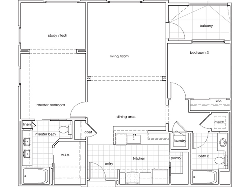 View floor plan image of 2 Bedroom 2 Bathroom D apartment available now