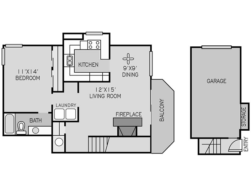 View floor plan image of 1x1  (F) BEDROOM apartment available now