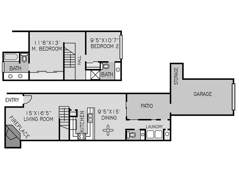 View floor plan image of 2 BEDROOM TOWNHOUSE B apartment available now