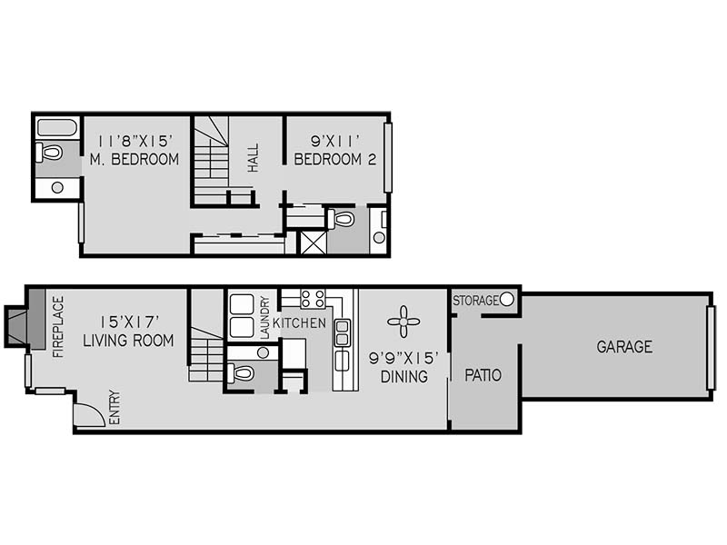 View floor plan image of 2 BEDROOM TOWNHOUSE D apartment available now