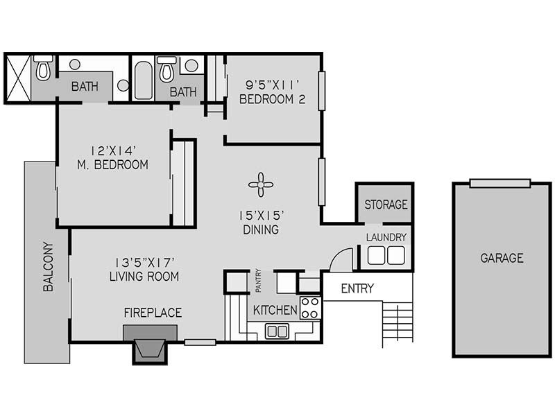 View floor plan image of 2 BEDROOM UPSTAIRS J apartment available now