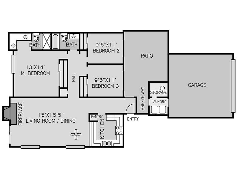 3 BEDROOM FLAT G apartment available today at The Springs in Fresno