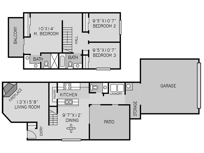 View floor plan image of 3 BEDROOM TOWNHOUSE A apartment available now
