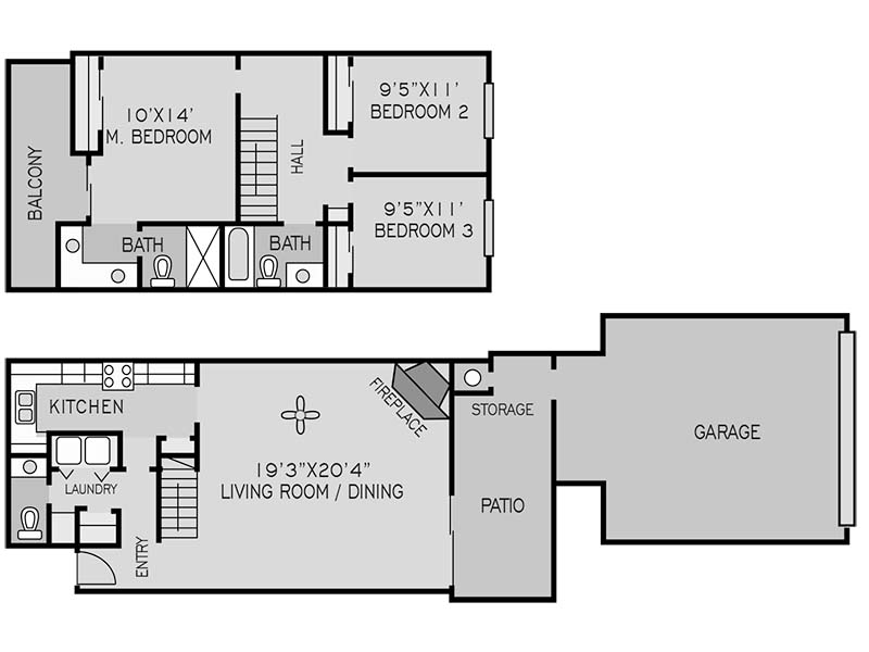 View floor plan image of 3 BEDROOM TOWNHOUSE C apartment available now