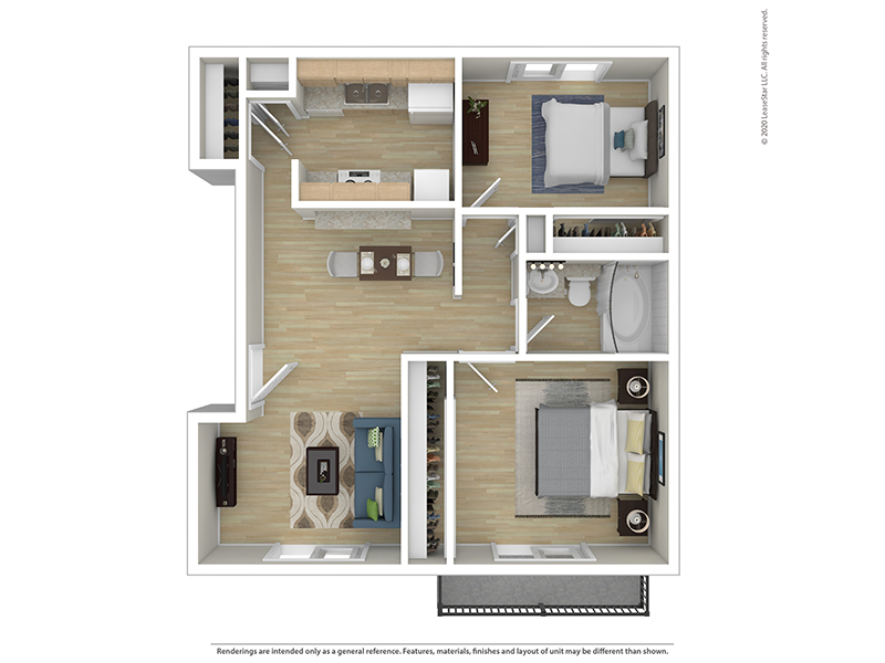 View floor plan image of 2 BEDROOM 1 BATH A apartment available now
