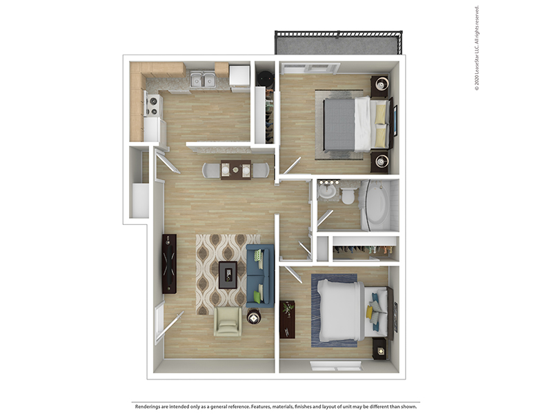 View floor plan image of 2 BEDROOM 1 BATH B apartment available now