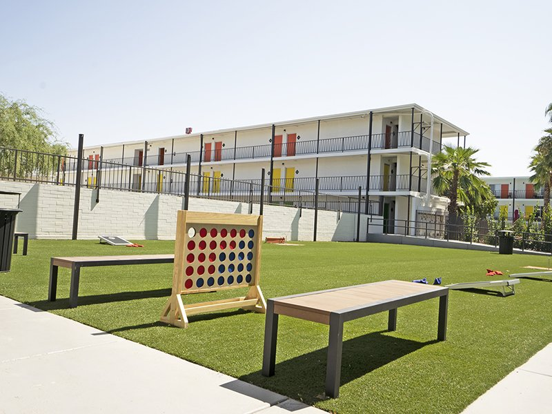 Outdoor Gaming Area | Sahara Apartments in Tucson, AZ
