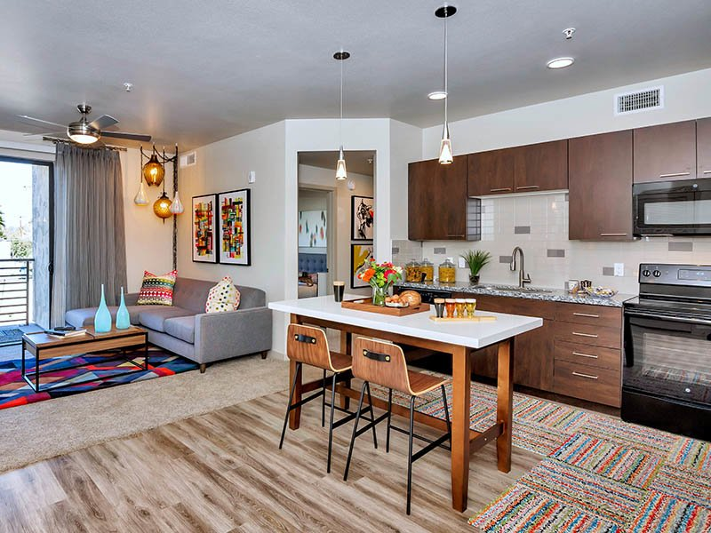 Open Kitchen and Living Room | The Curve at Melrose Apartments in Phoenix, AZ