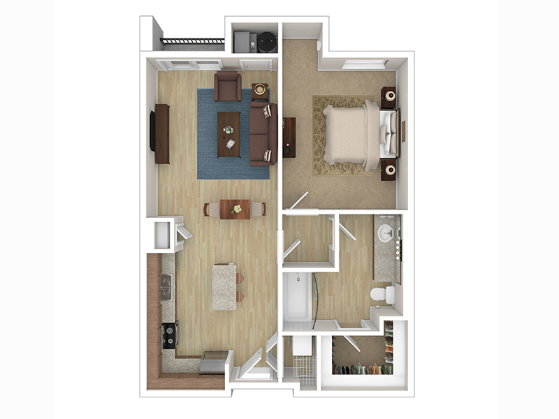 View floor plan image of 1C apartment available now