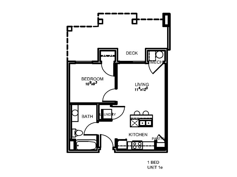 View floor plan image of 1E apartment available now