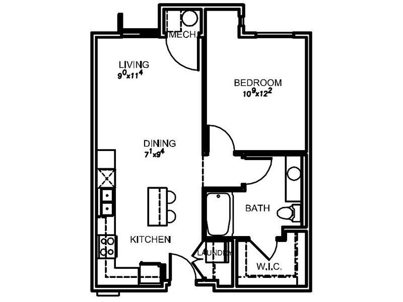 Lotus Apartments Floor Plan 1H