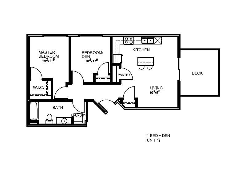 Lotus Apartments Floor Plan 1K