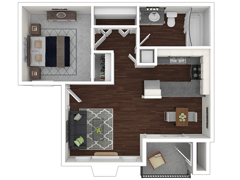 View floor plan image of One Bedroom apartment available now