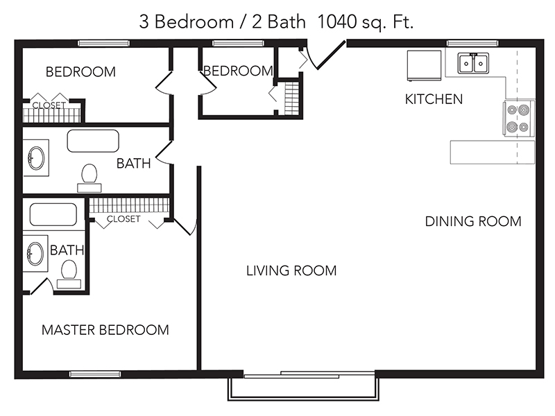 View floor plan image of 3 Bedroom 2 Bathroom apartment available now