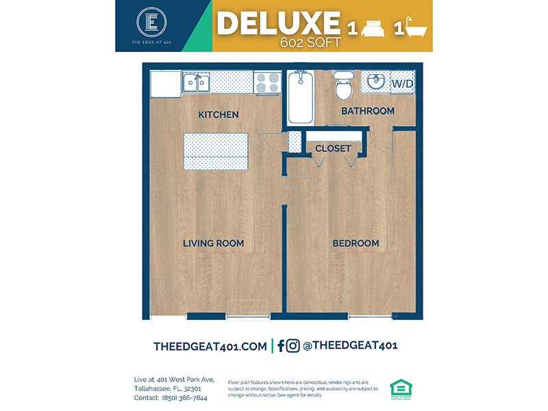 1 Bedroom 1 Bathroom Deluxe apartment available today at The Edge @ 401 in Tallahassee