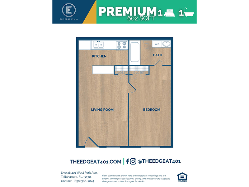 1 Bedroom 1 Bathroom Premium apartment available today at The Edge @ 401 in Tallahassee