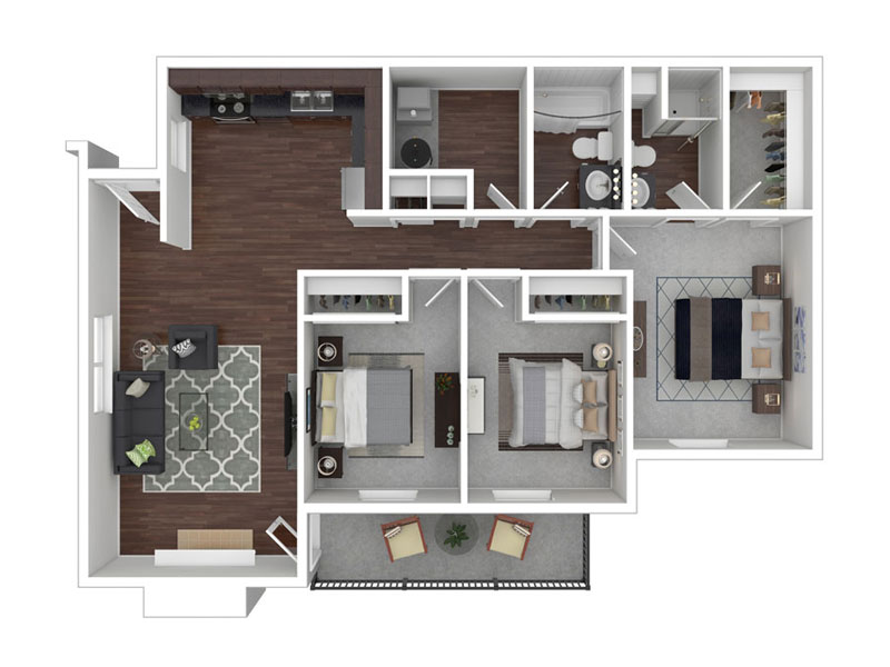Sunnyvale Apartments Floor Plan Three Bedroom