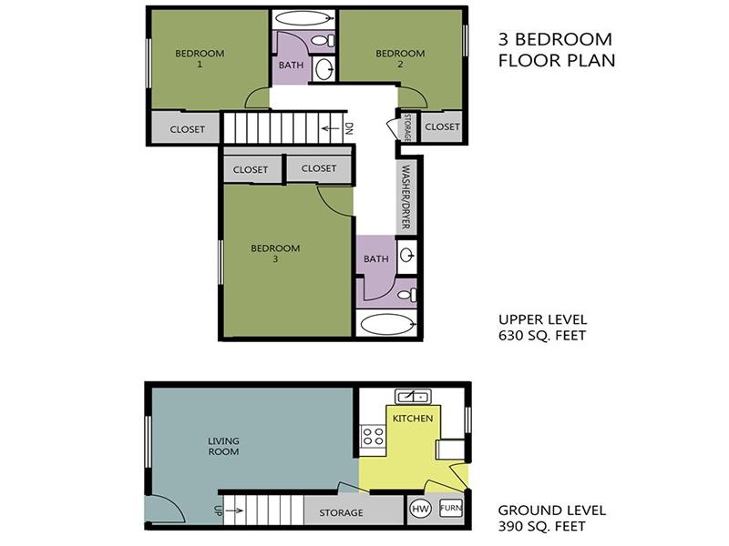 Parkview Terrace Apartments Floor Plan 3x2