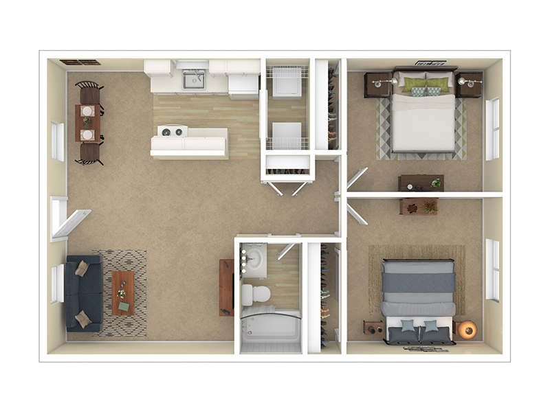 View floor plan image of 2 Bedroom 1 Bath - Large apartment available now
