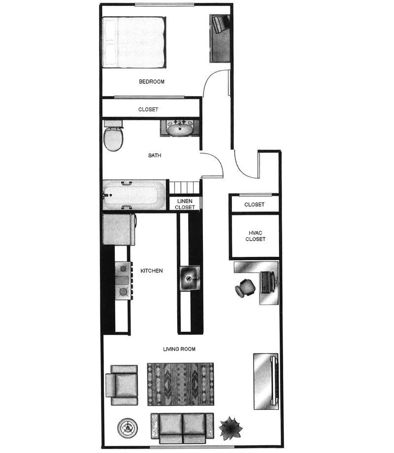 Parkway Commons Apartments Floor Plan 1 x 1