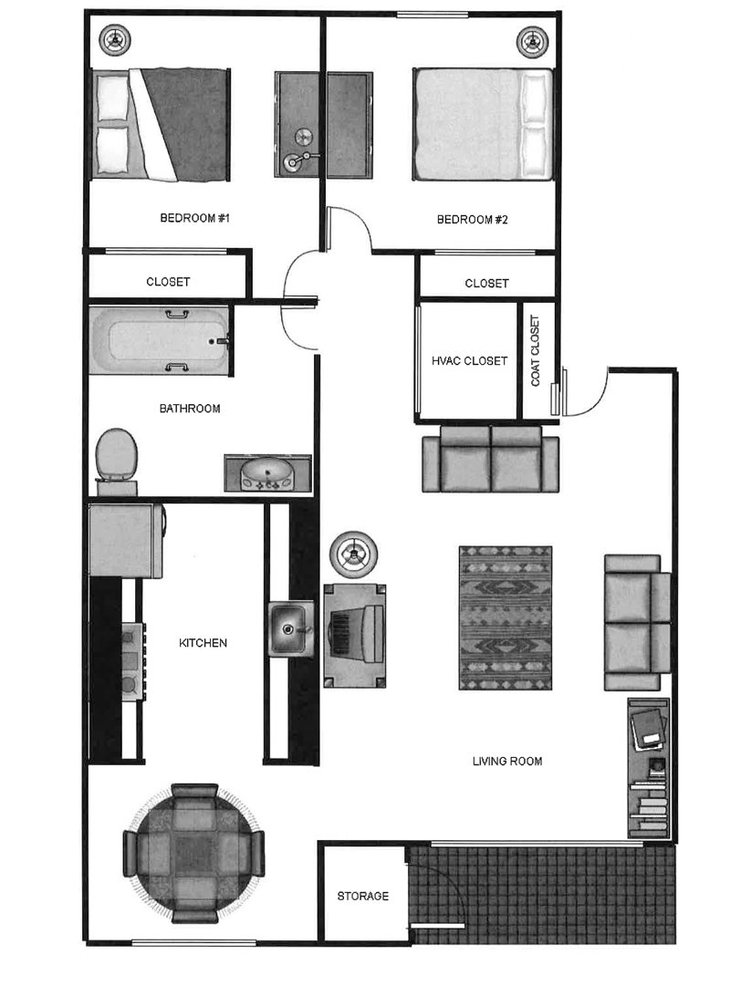 Parkway Commons Apartments Floor Plan 2 Bedroom 1 Bath