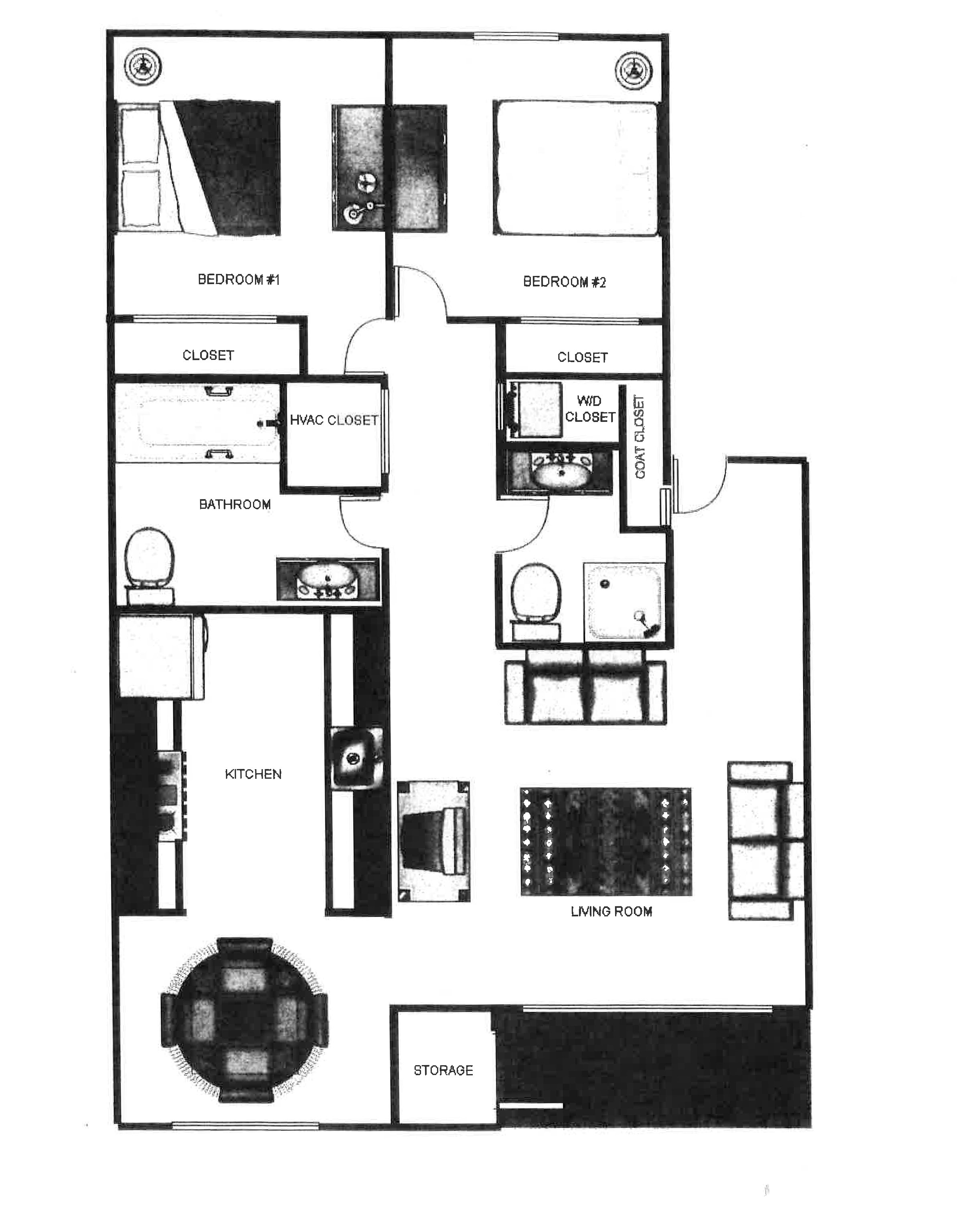 Parkway Commons Apartments Floor Plan 2 x 2