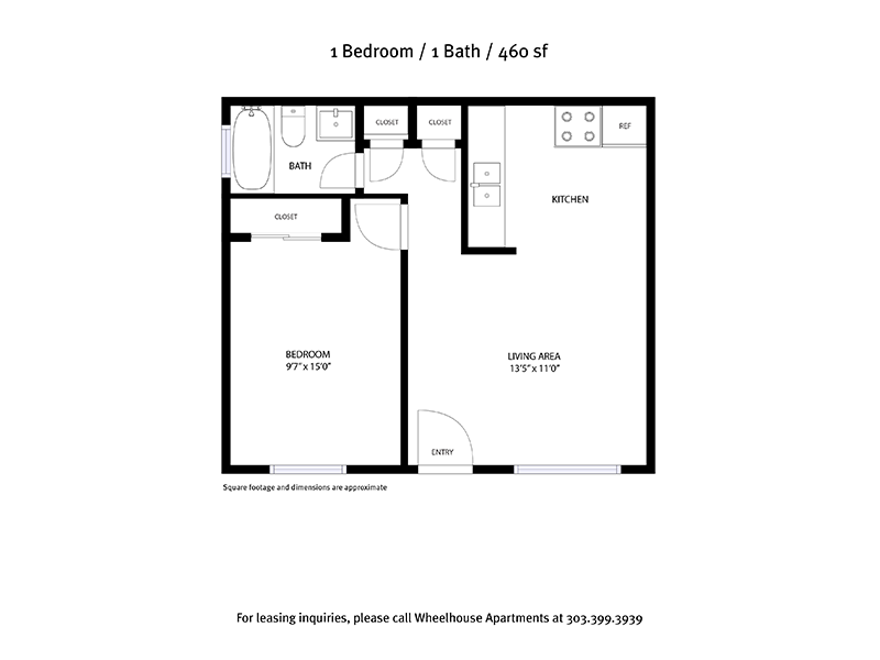 1 Bedroom 1 Bathroom 460sqft apartment available today at Powderhorn in Denver