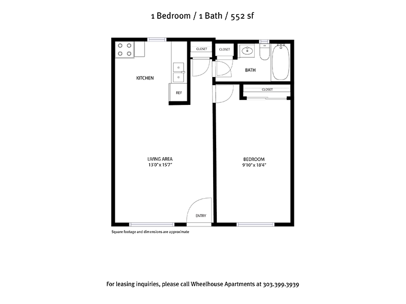 View floor plan image of 1 Bedroom 1 Bathroom 552sqft apartment available now