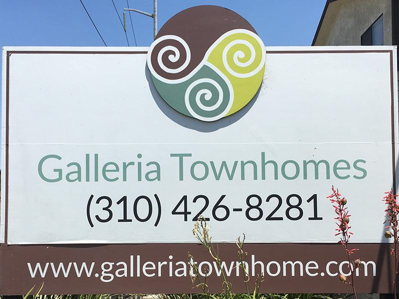Welcome Sign | Galleria Townhomes in Lawndale, CA