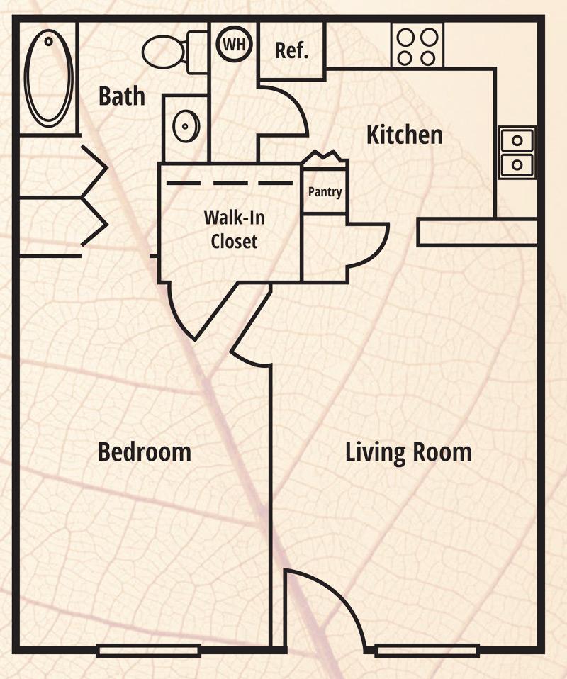 Sunrise Senior Village Apartments Floor Plan 1 Bedroom 1 Bath
