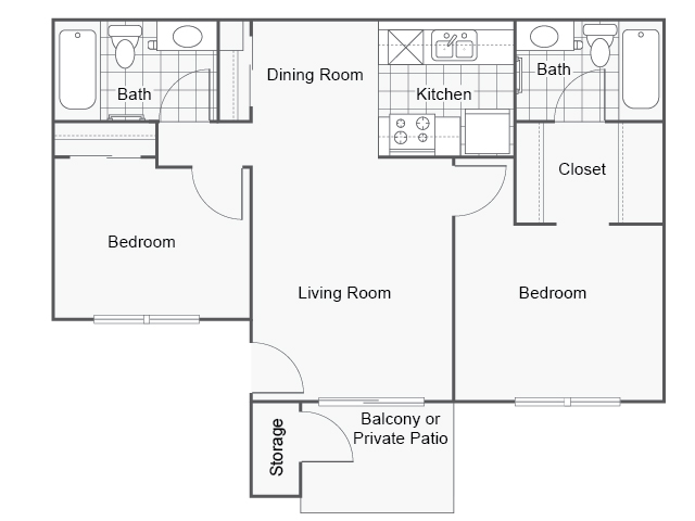 View floor plan image of 2 Bedroom 2 Bath apartment available now