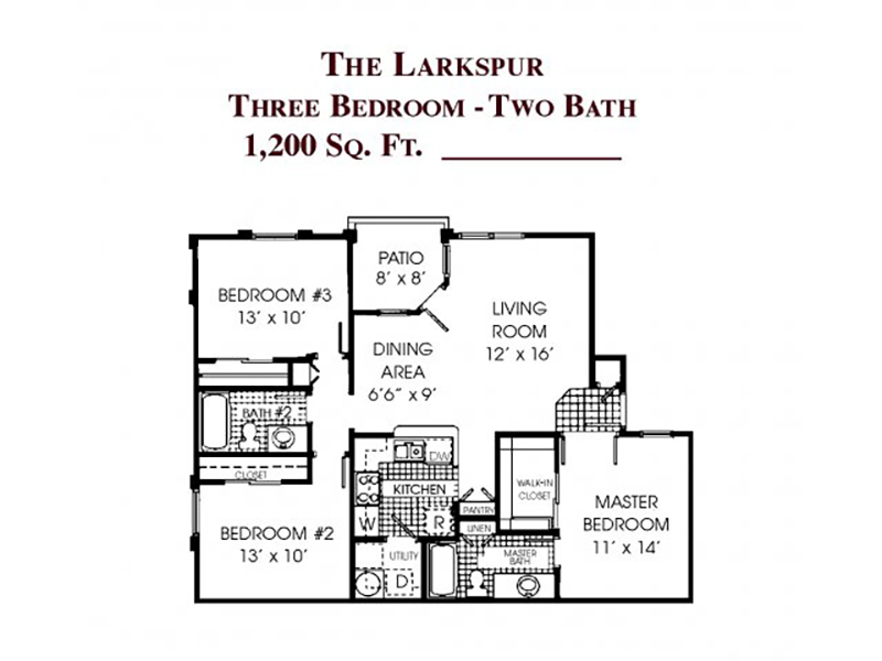The Larkspur apartment available today at Gloria Park Villas in Las Vegas