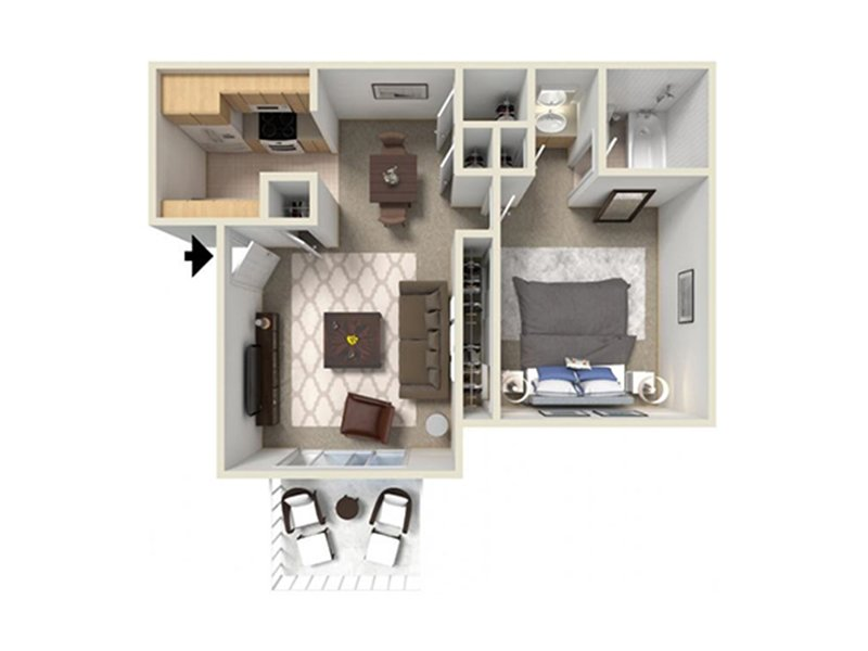 View floor plan image of 1b apartment available now