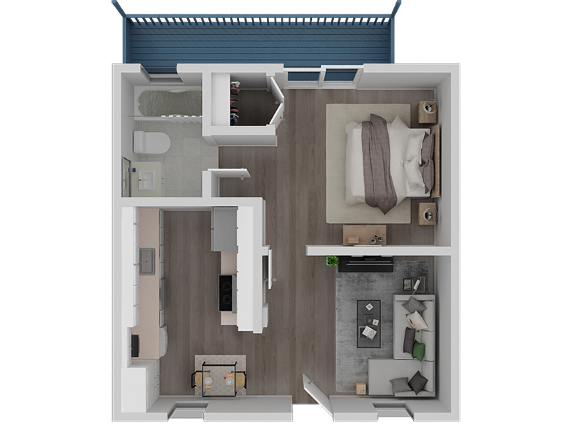 View floor plan image of 1 Bedroom 1 Bath Waterfront View apartment available now