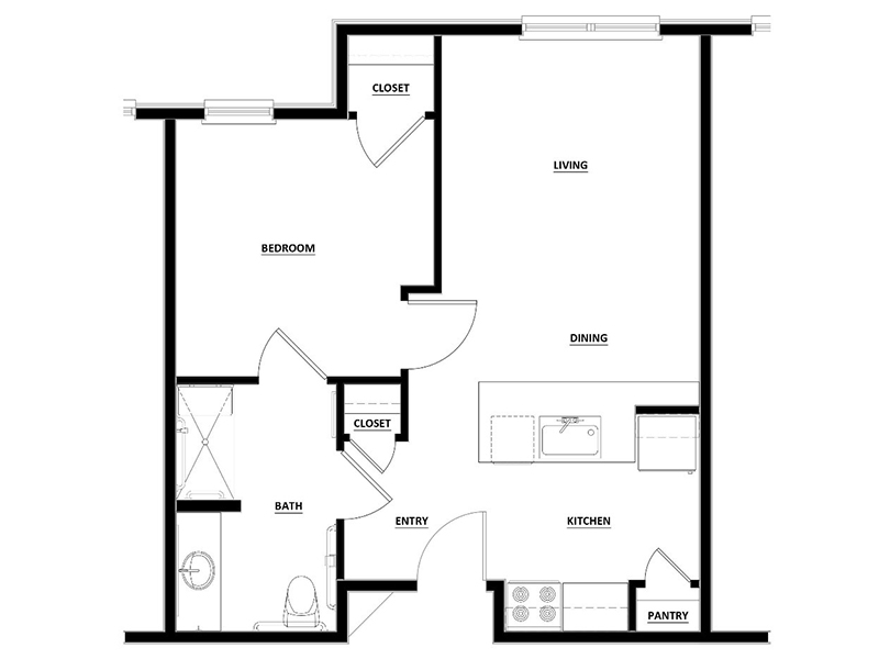 View floor plan image of 1x1 apartment available now