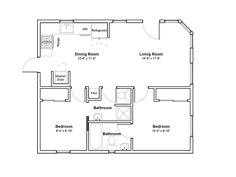View floor plan image of 2x2 apartment available now
