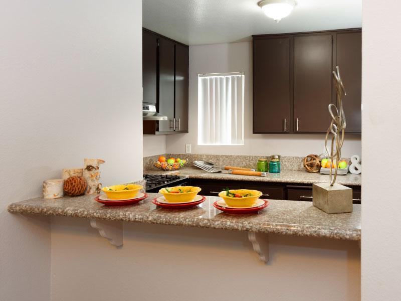 Island overview kitchen   Lake Balboa Apartments