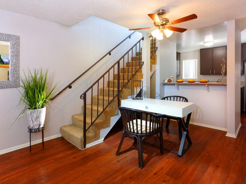 Dining room with stairs   Lake Balboa Apartments