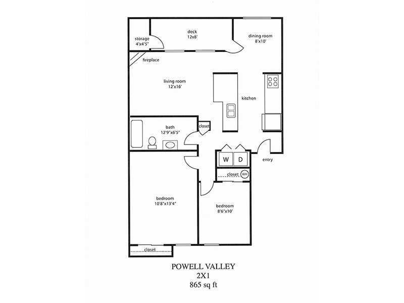 Powell Valley Farms Apartments Floor Plan 2 Bedroom